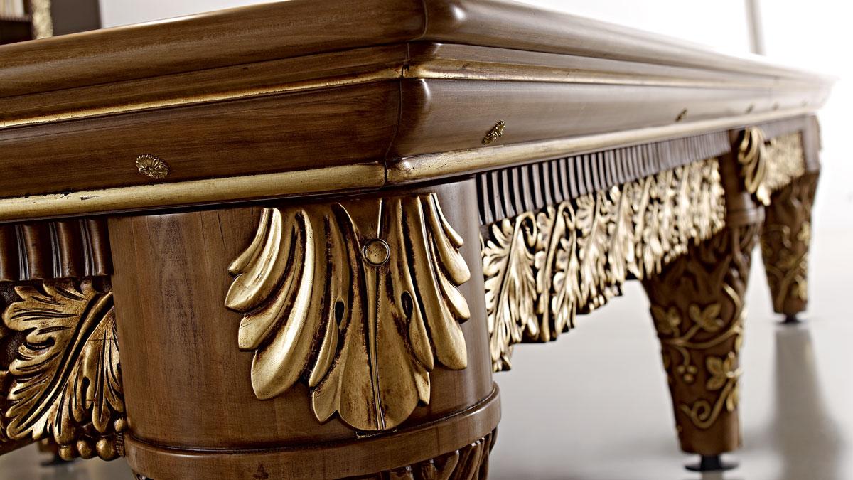 Olga Luxury Billiard Table with gold decorations