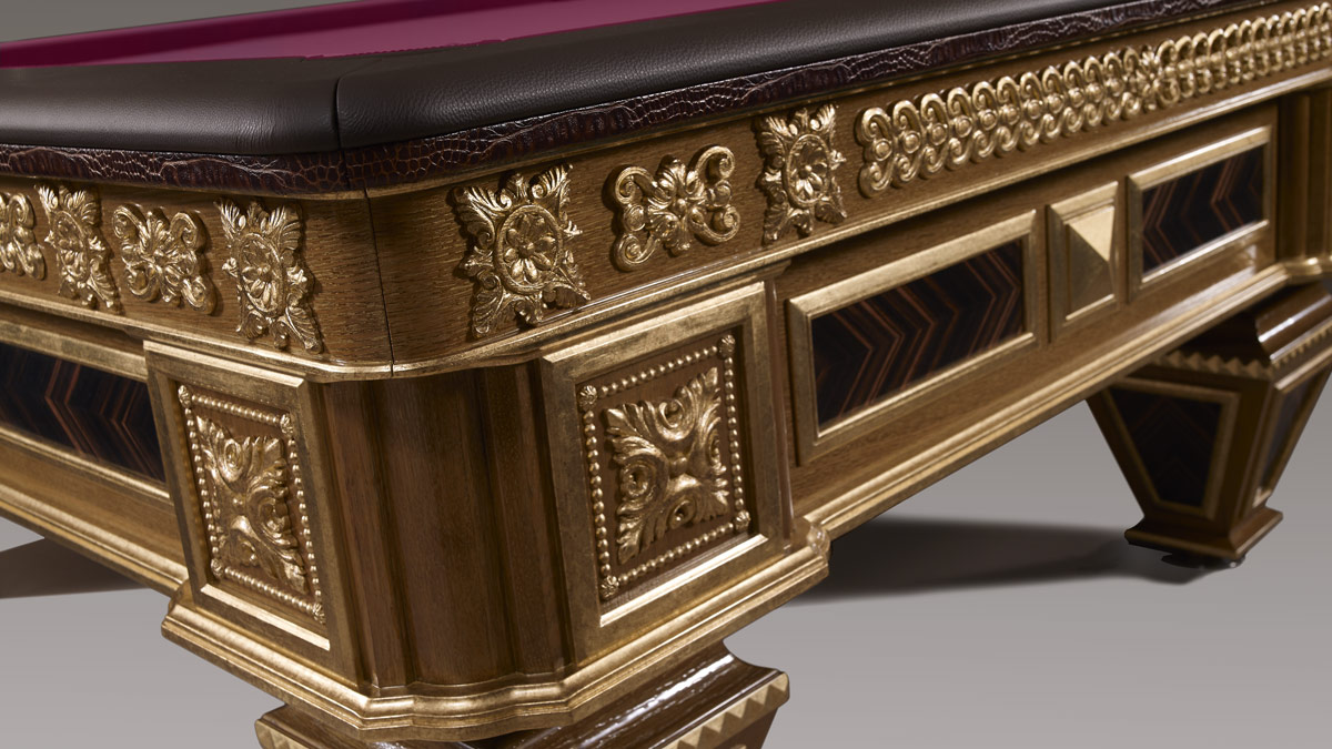 Zeus Luxury Billiard Table with gold carvings
